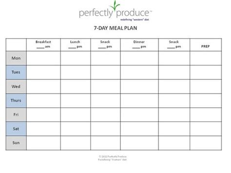 7 Day Meal Planner Template Printable Planner Template Diet Schedule Template