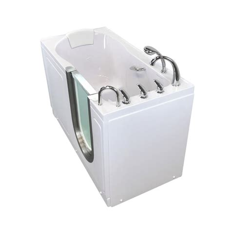 ella deluxe   acrylic walk  micro bubble air bath bathtub  white  fast fill faucet