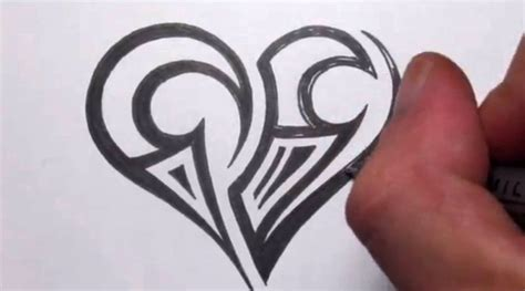 simple heart tattoo drawing a simple tribal maori design