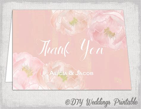 watercolor thank you card template thank you card template diy quot peony quot printable pink
