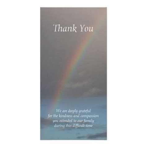 template funeral thank you cards rainbow sympathy thank you cards photo card template