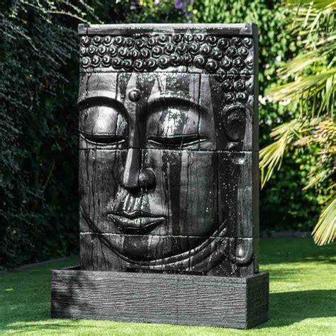 terrasse zen avec bouddha mur d eau avec bassin visage de bouddha noir h 1 m 80