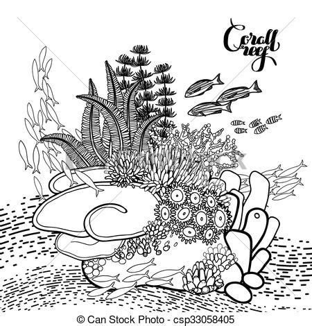 vector clipart of coral reef design coral reef in line