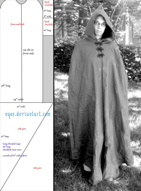 cloak template pattern hooded cape by eqos on deviantart