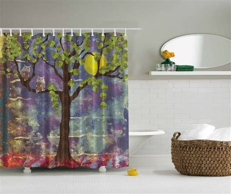 owl shower curtain tree green blue owl painting nature fabric shower curtain digital bathroom ebay