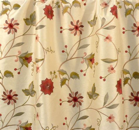 embroidered curtain fabric drapery upholstery fabric embroidered floral faux silk