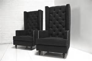 Black Wingback Chair Design Ideas Www Roomservicestore Boy Modern Wing Chair In Black Tweed