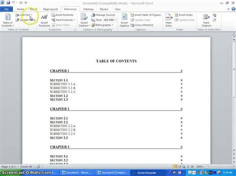 table of contents template word 2010 msds table of contents template