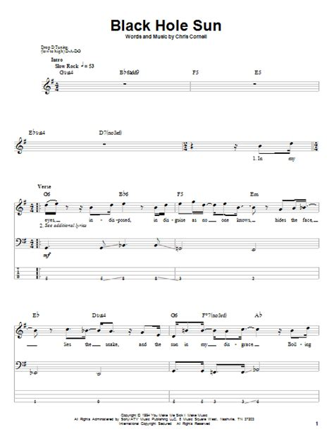black hole sun chords black hole sun bass guitar tab by soundgarden bass guitar