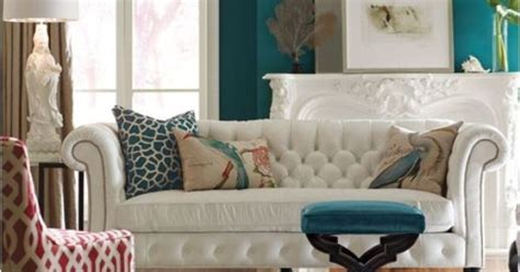white tufted sofa teal wall accents hollys weekend