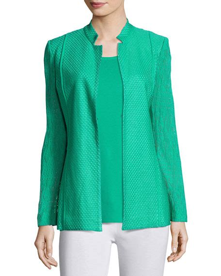 Lace Jacket Green misook lace sleeve knit jacket green