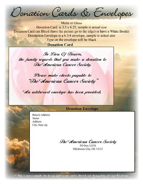 Memorial Donation Card Template by Funeral Or Memorial Donation Cards And Envelopes