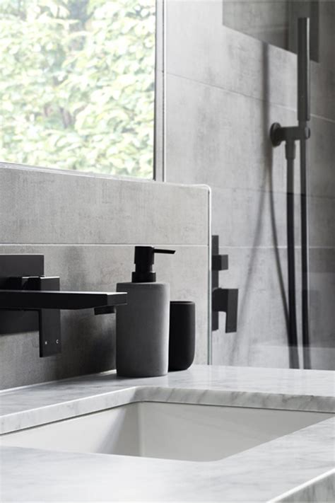 gray black and white bathroom matte black accents add sophistication to this grey and