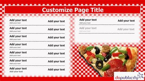 digital menu board templates digital menu board template for italian pizza restaurant
