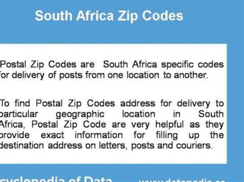africa with code about south africa postal zip code finder