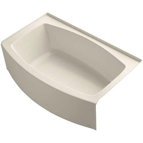 almond bathtub kohler memoirs 5 ft left hand drain cast iron soaking tub