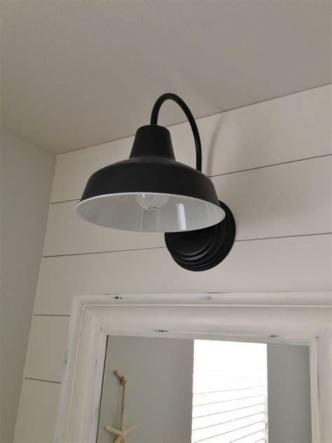 farmhouse style bathroom light fixtures barn wall sconce lends farmhouse look to powder room