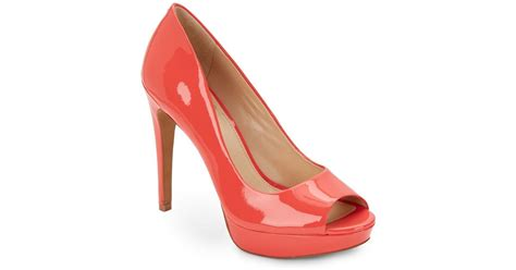 Vince Camuto Lottie Peep Toe by Vince Camuto Janeese Patent Leather Peep Toe Pumps In Pink