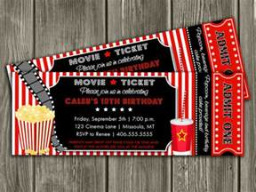 Backyard Movie Night Invitations Cinema Movie Theater Popcorn Ticket Birthday Party Event