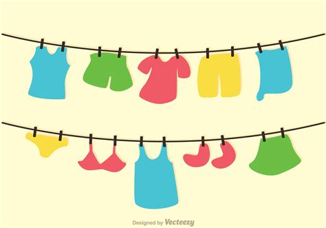 Washing Line Outline by Clothes On Washing Line Vector Free Vector Stock Graphics Images