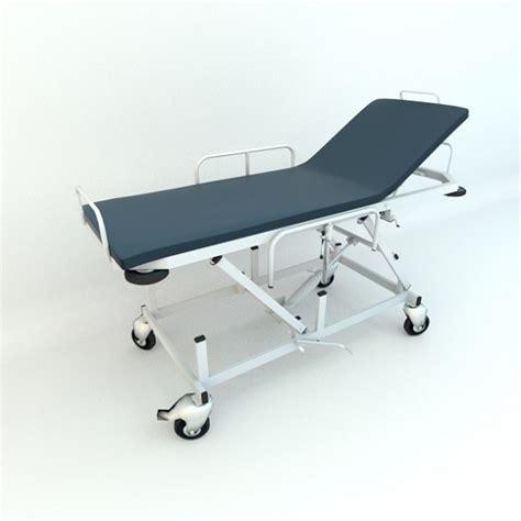 gurney bed 3d model hospital gurney