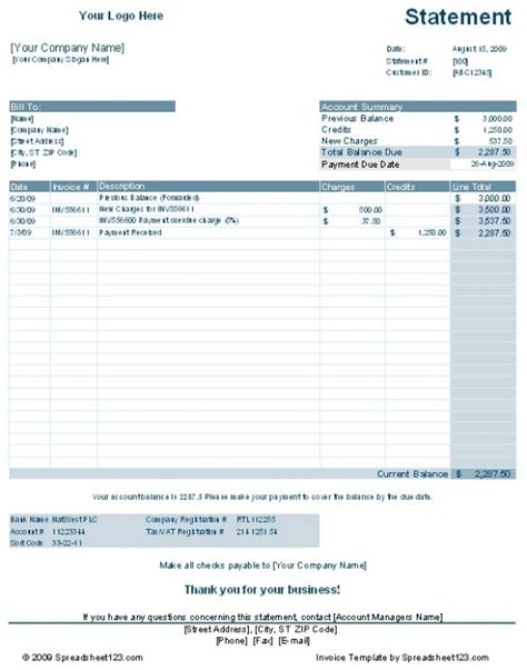 customer account statement template free download and