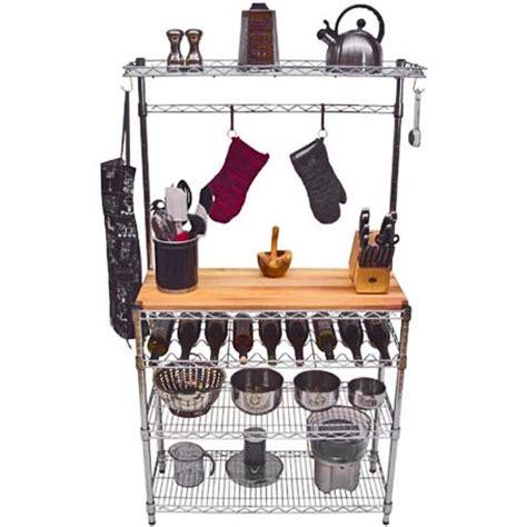 14 quot d bakers rack w butcher block top and wine rack