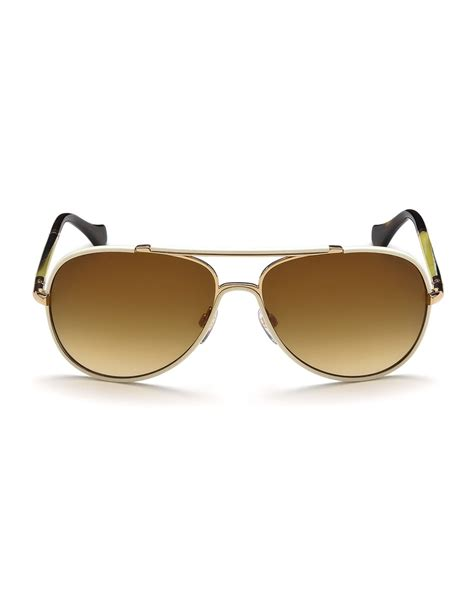 lyst balenciaga leather covered aviator sunglasses in white