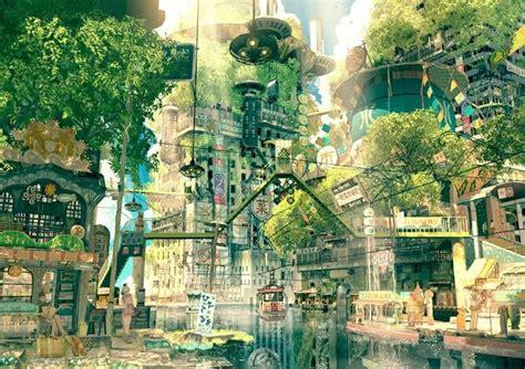 anime village wallpaper anime art anime scenery city cityscape