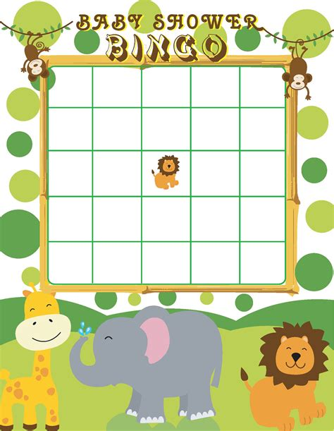 printable jungle animal bingo printable jungle themed baby shower bingo by jennya309 on