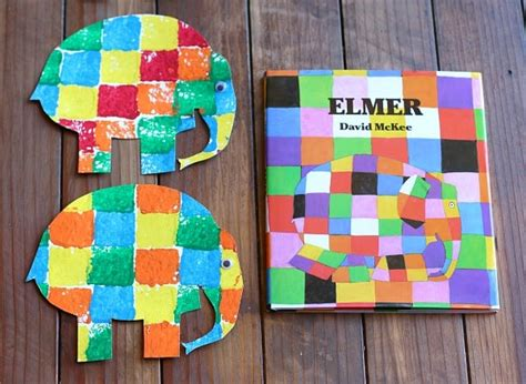 sponge painted elmer the elephant buggy and buddy