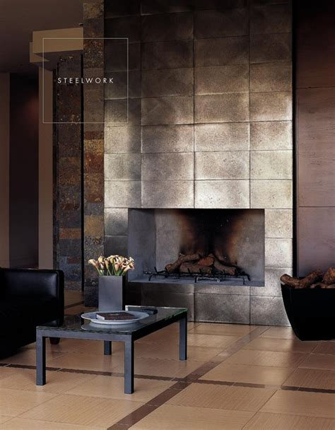 Metallic Tile Fireplace by Veneer Fireplace Them Them Indifferent