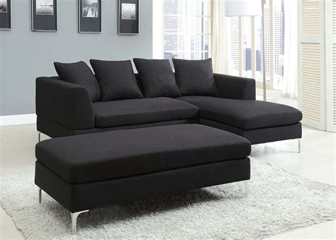 black fabric couch homelegance zola sectional sofa set black linen like
