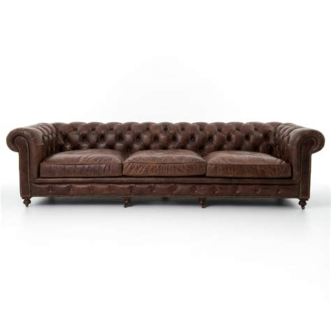 Club Leather Sofa Club Chesterfield Tufted Brown Leather Sofa 118w Kathy Kuo Home