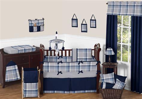 Navy Blue Nursery Bedding by Sweet Jojo Designs Navy Blue And Grey Plaid Boys Baby