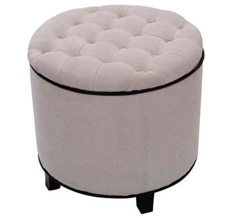 circle ottoman with storage round storage ottoman cream aosom ca