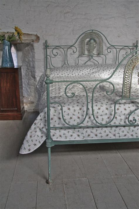 very pretty romantic king size victorian forged iron bedstead with delightful shabby chic paint