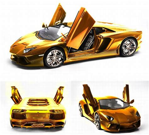 What Is The Price Of A Lamborghini Car Golden Version Of Lamborghini Aventador Model Car Costs 12