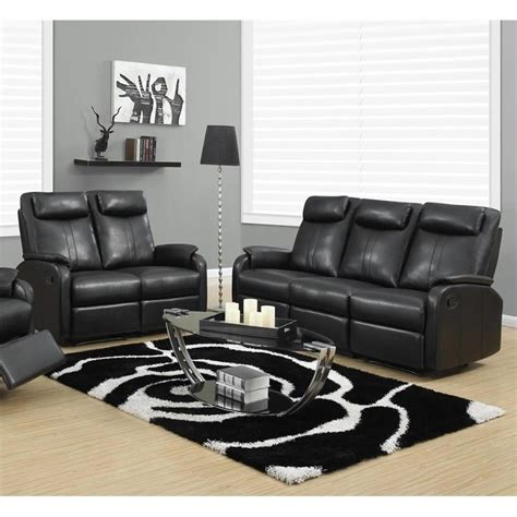 2 Piece Reclining Rocker Leather Sofa Set In Black I Black Reclining Sofa Set