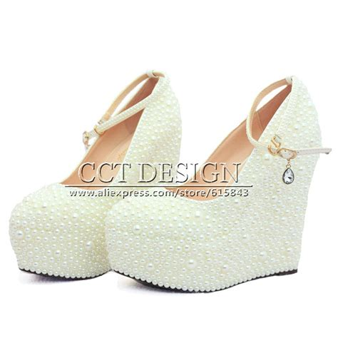White Wedge Bridal Shoes by 2015 New Fashion Wedges Wedding Shoes White