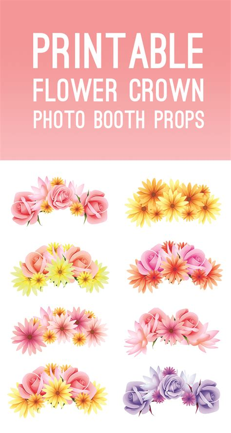 photo booth crown printable free printable photo booth flower crown props for your