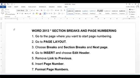 section breaks and page numbers word 2013 section breaks and page numbering youtube