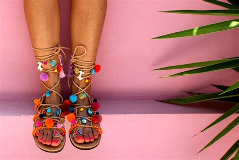 sandal pompom sandals tie up gladiator sandals pom pom sandals