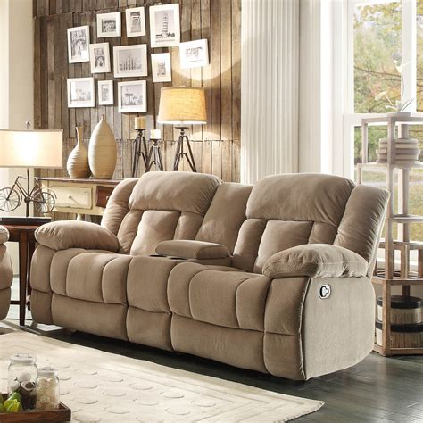 Reclining Sofa With Center Console Homelegance Laurelton Doble Glider Reclining Loveseat W Center Console In Taupe Polyester