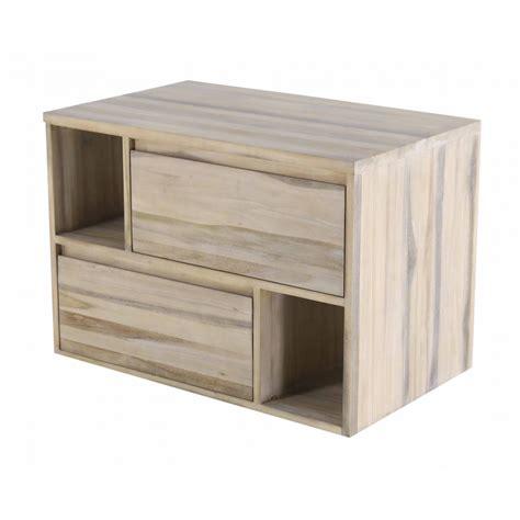 meuble de salle de bain teck 2 tiroirs 90 cm elixir zago