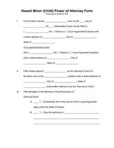 Temporary Power Of Attorney Template by Free Hawaii Power Of Attorney For A Minor Child Form Pdf