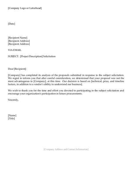business letters rejection vendor rejection letter