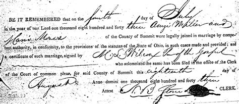Medina County Marriage Records The Marriage Record Of Amzi Miller And Mosesjuly 4
