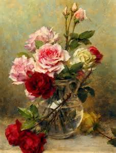 Pictures Of Roses In A Vase A Vase Of Roses By Gustave Bienvetu Joseph Donaghy Art