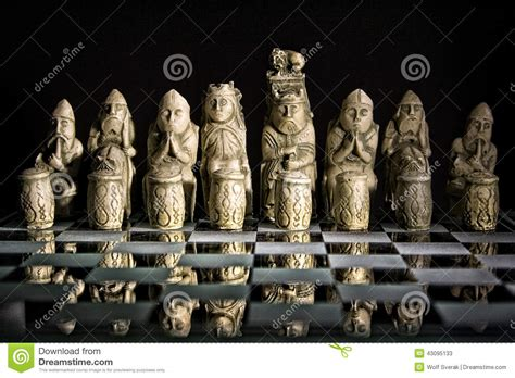 ancient chess set ancient chess set on glass board stock photo image 43095133